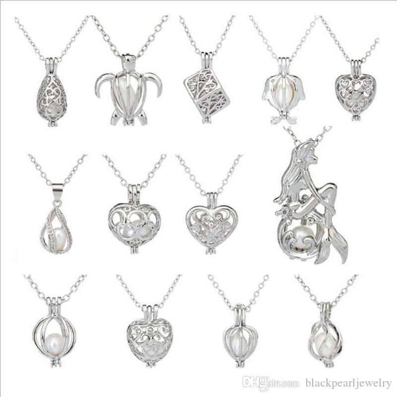 Oyster Aşk İnci kolye Zincir kolye Colar ile Kadın İstek İnci Hediyesi 20 mm Kalp Kafes Chokers kolye