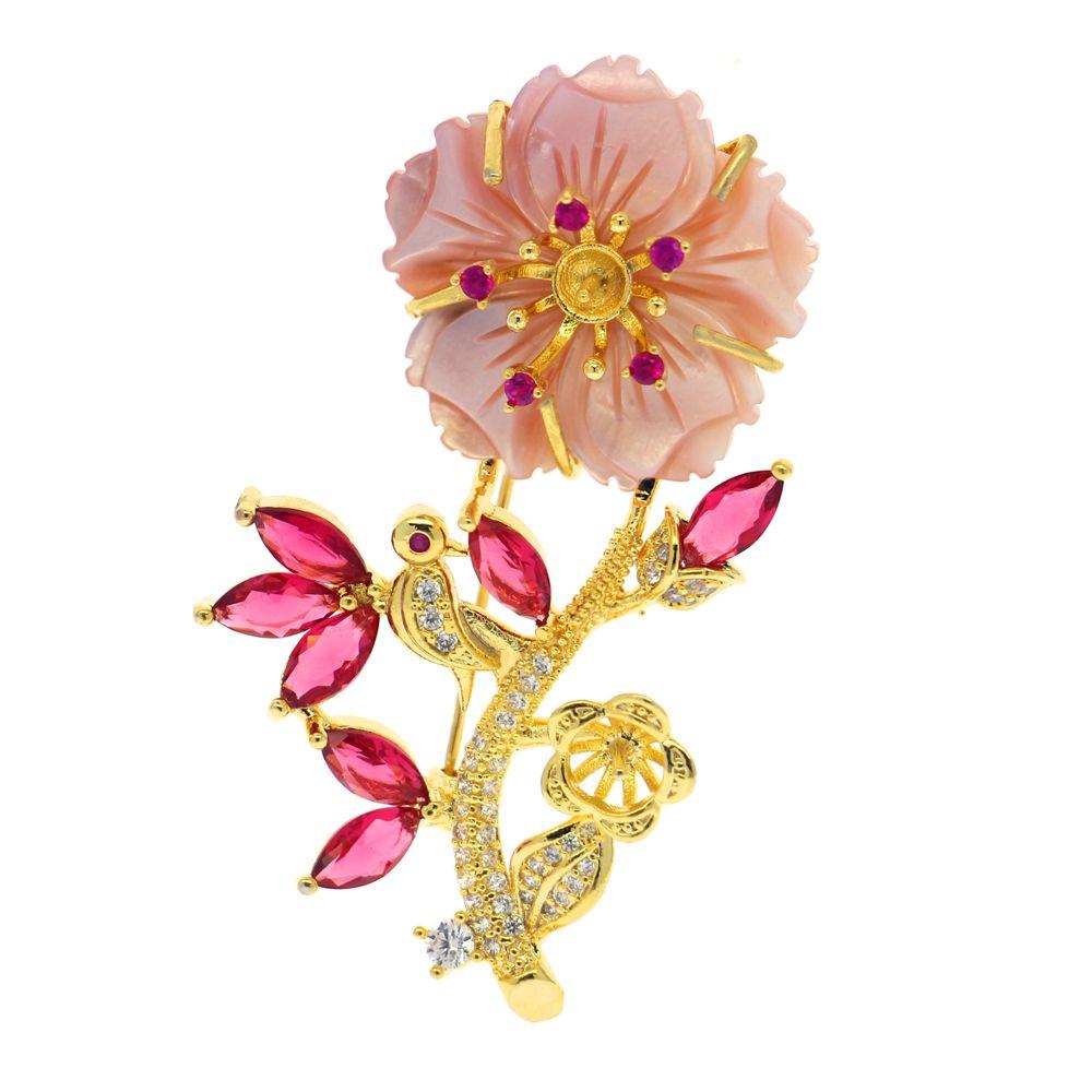 DIY fashion pearl jewelry natural freshwater pearl brooch shell flower shaped copper brooch empty bracket