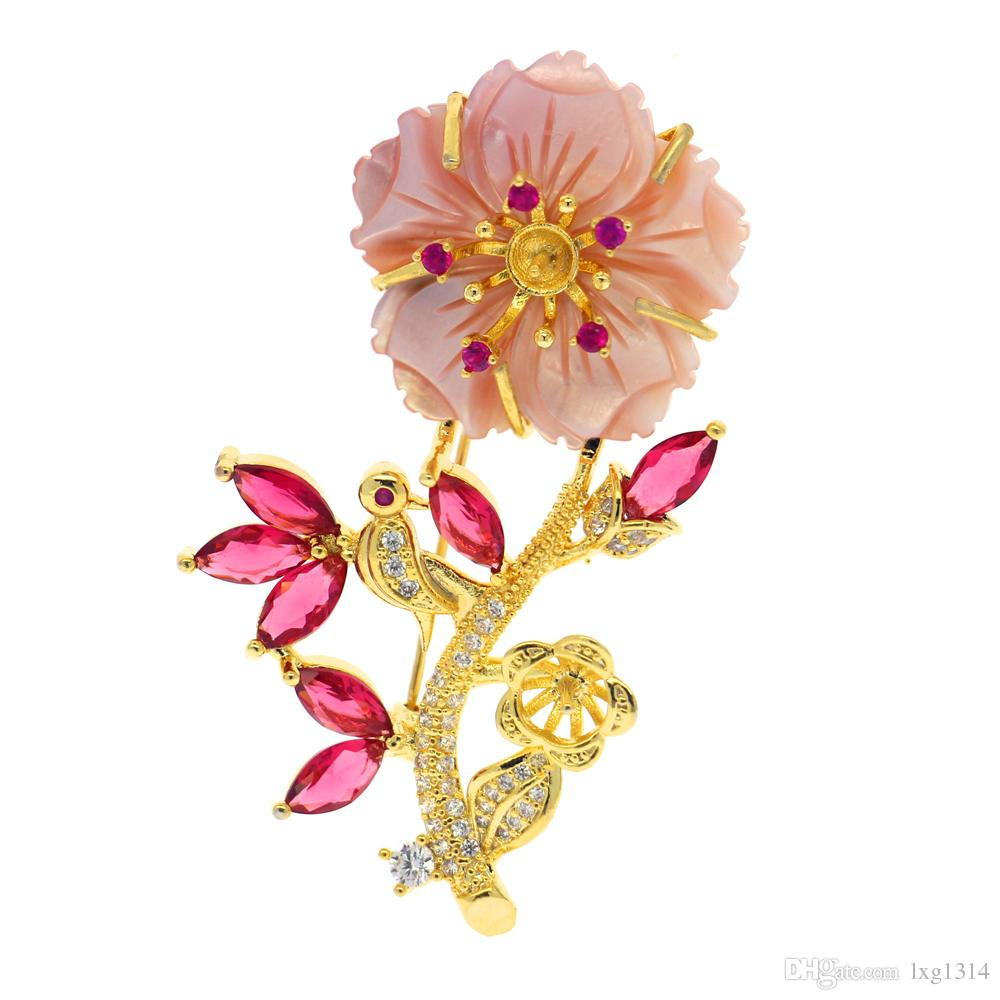DIY fashion pearl jewelry natural freshwater pearl brooch shell flower shaped copper brooch empty bracket
