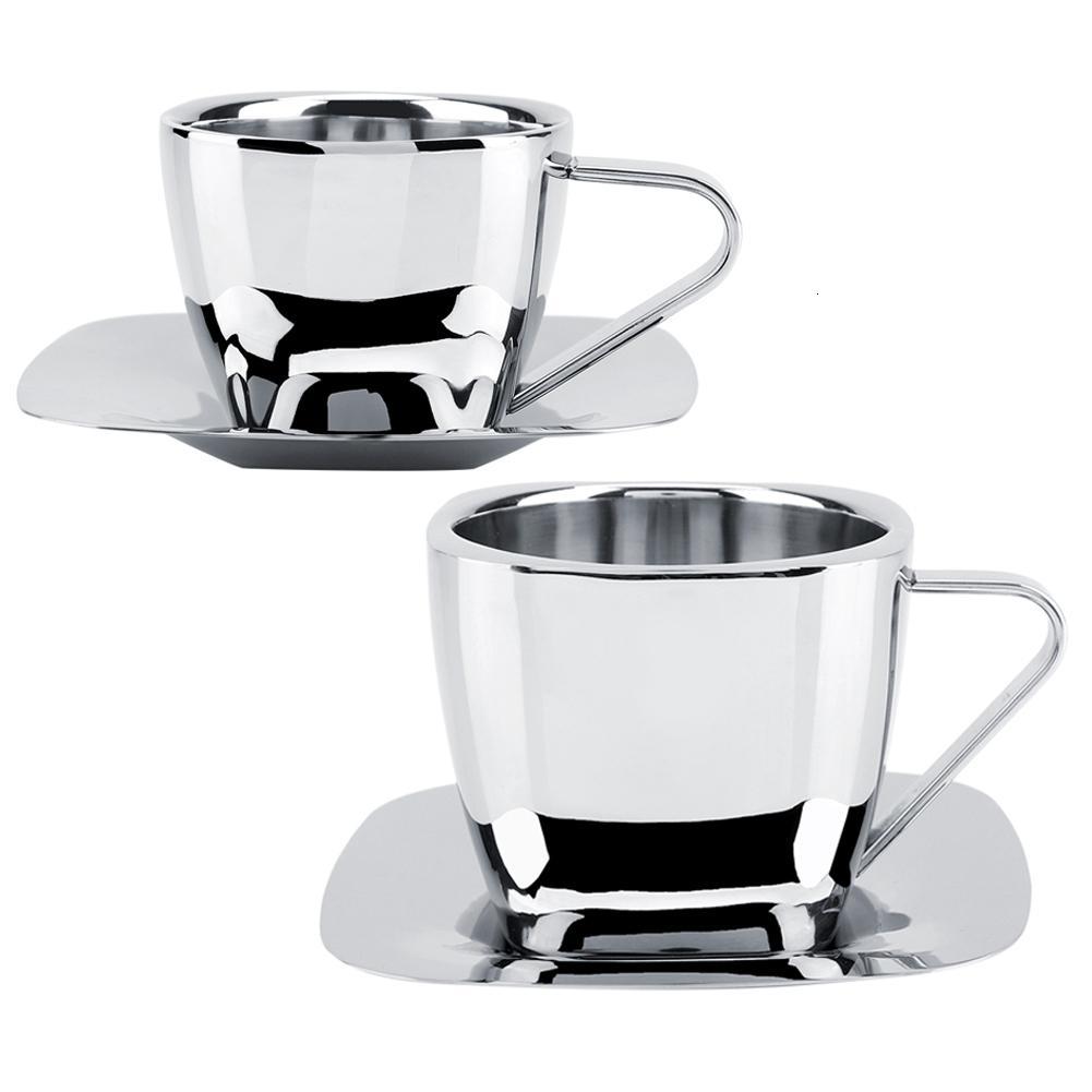 chávena de café de aço inoxidável de camada dupla anti-queimadura isolamento mão suspensão orelha vácuo café leite quadrado copo de chá pires chá T191026