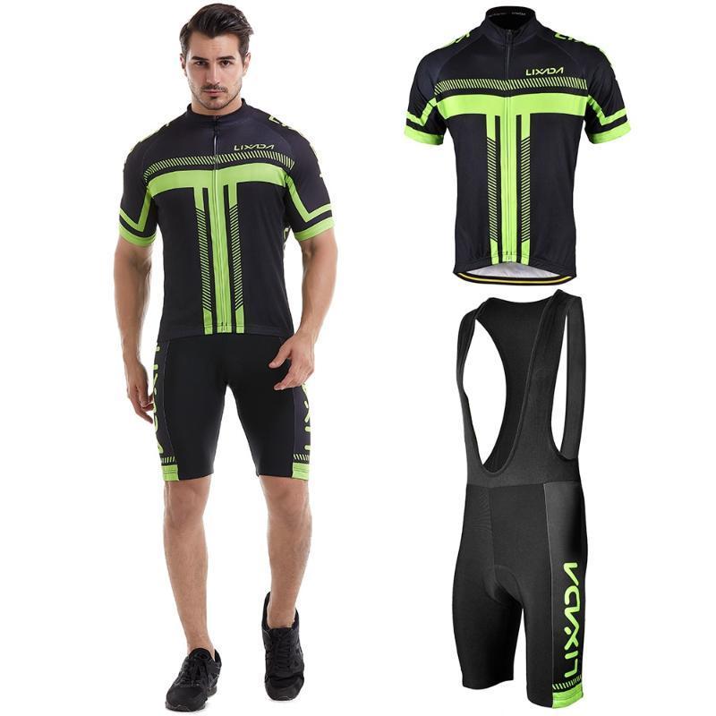 Erkekler Kısa Kol Bisiklet Jersey yastıklı Önlüğü Kısa Seti Bisiklet Bezi Seti Hızlı Kuru Nefes yastıklı Spor Bisiklet Giyim Bisiklet