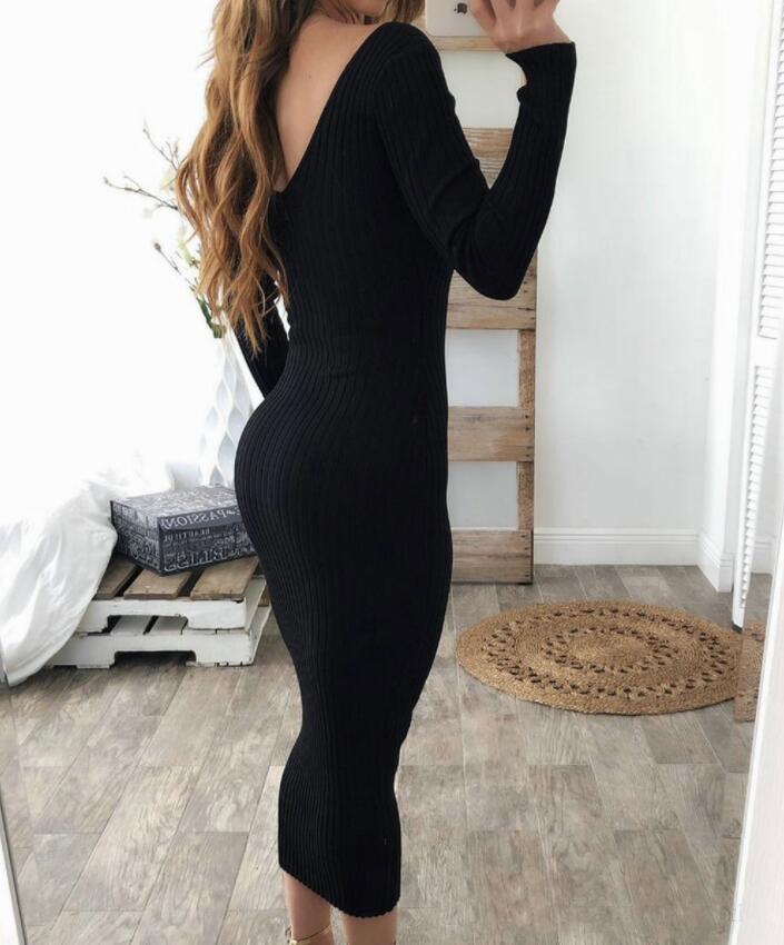 Heißer Verkaufs-Doppel-V Frauen-reizvolle Bodycon lange Kleid Herbst Winter gestrickt Langärmlig gestreifte Kleider Kleidung