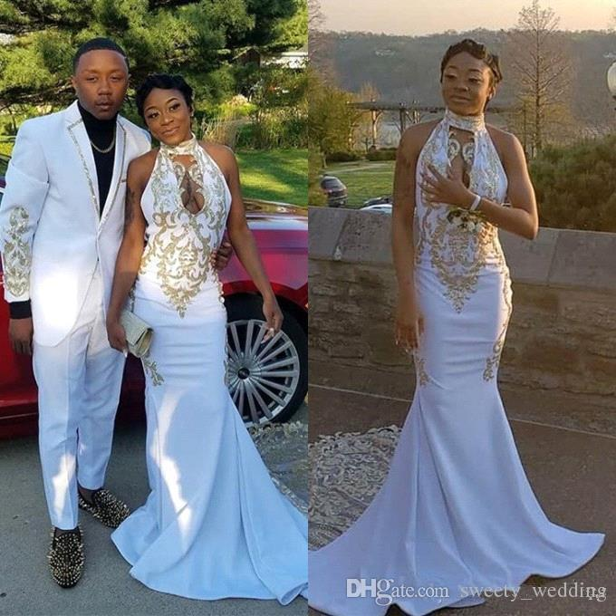 Hot Sell White Fashion Couple Prom Dresses 2019 Black Girls Sexy Halter Keyhole Neck Gold Applique Stretchy Long Evening Gowns