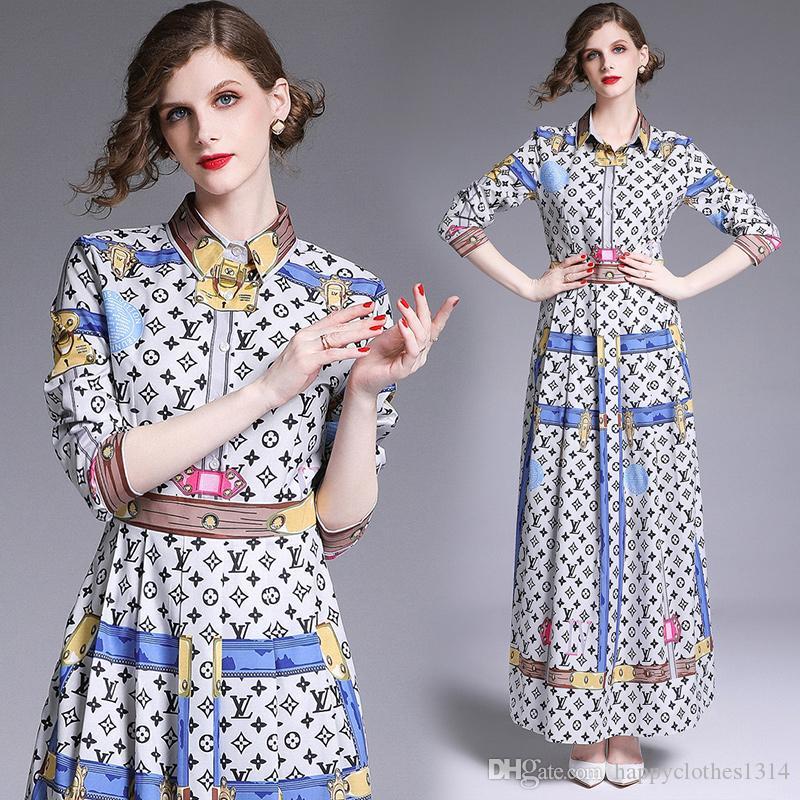 2020 Новый Стиль Взлетно-Посадочной Полосы Классическое Платье Плюс Размер Женская Мода С Длинным Рукавом Отворотом Шеи Печатные Женские Платья Тонкий Офис Кнопка Рубашка Платье