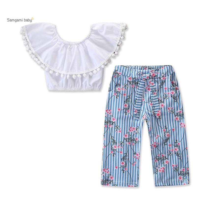 Retail kids outfits girls fashion one shoulder Tee + floral wide leg pants 2pcs children clothing set baby tracksuit kids designer clothes