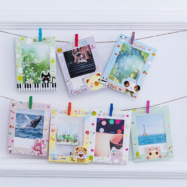 9PCS 6INCH وازم الإطار الكرتون صورة الطفل ورقة تحمل بصمات إطارات الصور معلقة على الجدار QP2