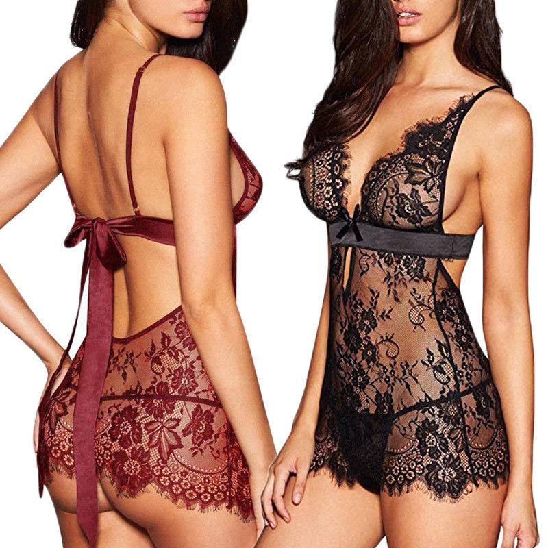 2019 New Woman Female Exotic Sexy Lingerie Lace Dress Babydoll Women Underwear Nightwear Sleepwear Plus Size S-XL
