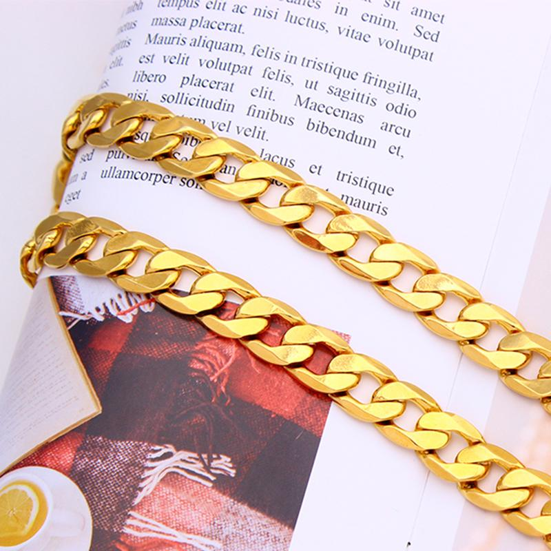 """Uomini piatto cubano (Curb) di collegamento Chain 18 k 22 K 24 K Thai Baht Belle pieno d'oro 10mm largo 24"""" Lunghezza CINA Collana - VITA Warran"""