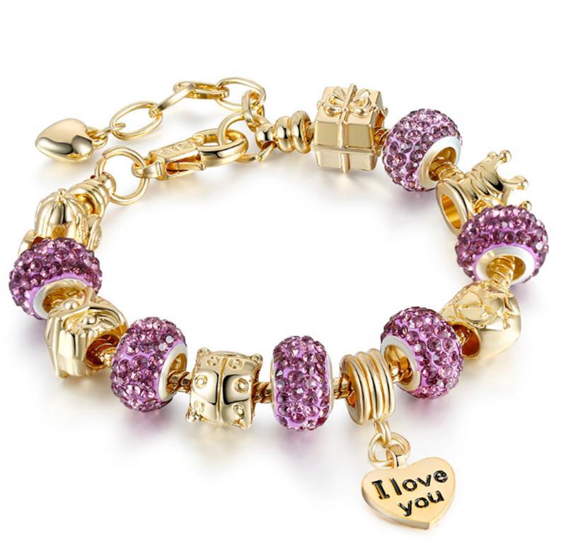 Der Vorrat reicht !! Gold Amazon weichen Ton Armband ist von Diamantperlen voll. heißer Verkauf Armband ist ein großes Loch Wulst