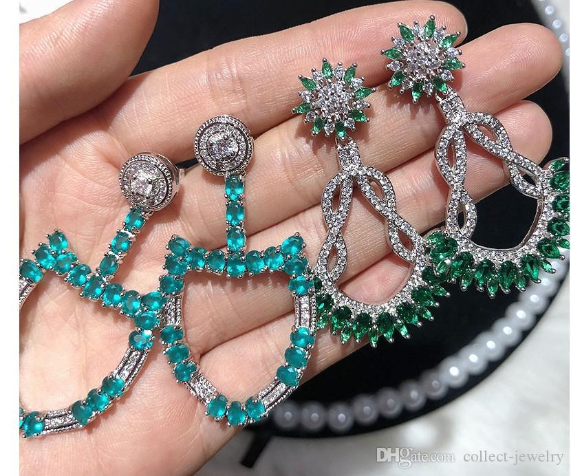 Wunderbarer Großhandel 2 teile / lose Niedriger Preis Hohe Qualität Diamant 925 Silber Lady Earings 17 (Wählen Sie zwei Paare aus dem Bild) Yui