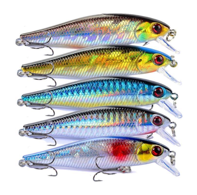 Yeni Gerçekçi Balık Minnow Flaş Lazer Balıkçılık Cazibesi 8.5 cm 9.2g aerodinamik vücut dart eylem Askıya alma yem