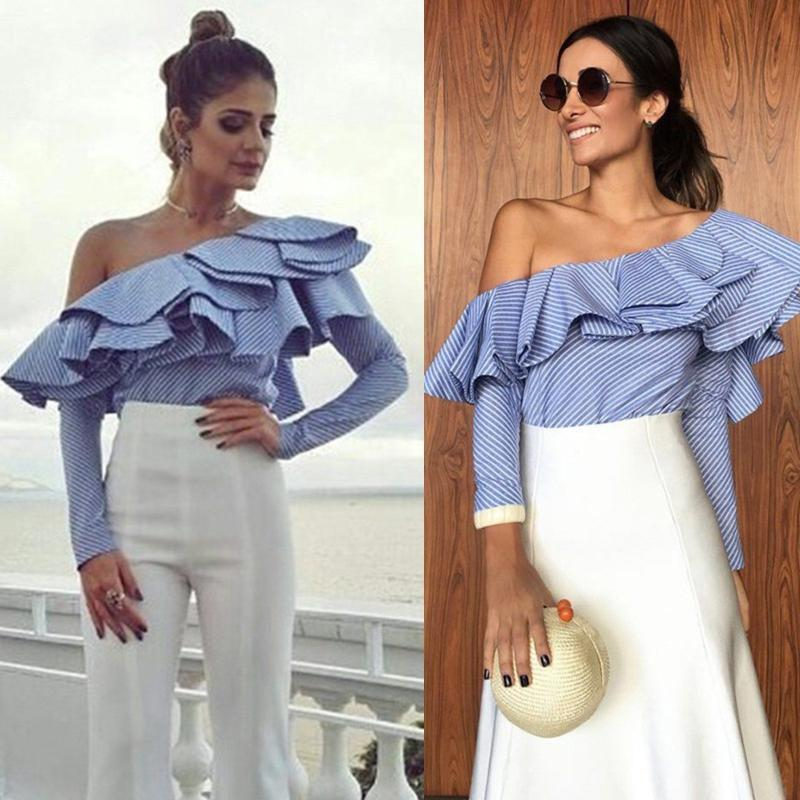 Mode féminine blanc rayé bleu Une blouse épaule manches longues volants chemisiers de femmes Casual Haut, plus la taille S à 2XL
