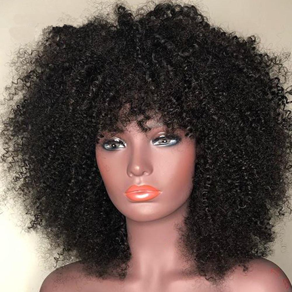 Brésilien Bob Perruques droites perruques de cheveux humains avec Bangs péruvienne machine Fait Aucune dentelle perruques cheveux indiens de Malaisie