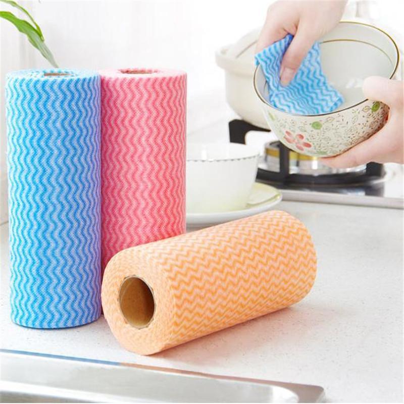 Suministros no tejido de la cocina antiadherente aceite Ddish paño desechable plato toallas desechables Lazy trapo de limpieza para el lavado de coches Wipe Tabla Manos