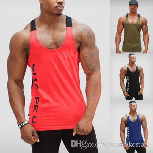 رياضة الرجال كمال الاجسام تانك الأعلى العضلات سترينجر رياضي فيتنيس قميص ملابس الرجال القطن الساخن الأعلى ملابس الصيف