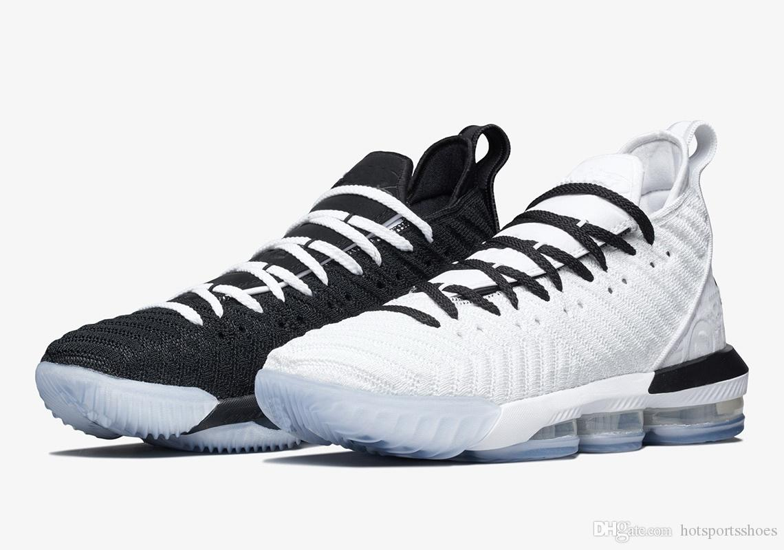 New LeBron 16 Equality Pack للمبيعات مع صندوق شحن مجاني جديد James 16 black White Basketball shoes store US7-US12