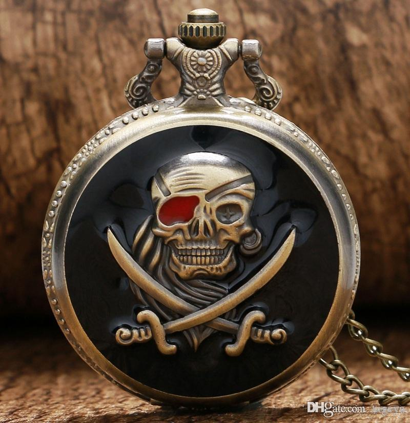 Wholesale Cool Black 해골 해적 디자인 석영 시계 주머니 시계 남자 목걸이 체인 여성 크리 에이 티브 선물