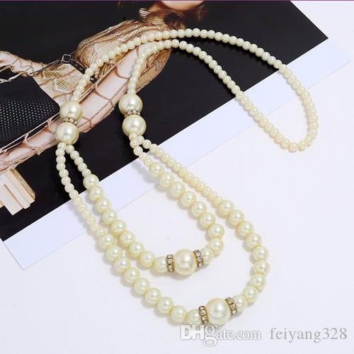 Atacado 5 pcs banhado a ouro imitação de Pearl Beads Pingente Cadeia Rope Colar por Mulheres jóia elegante