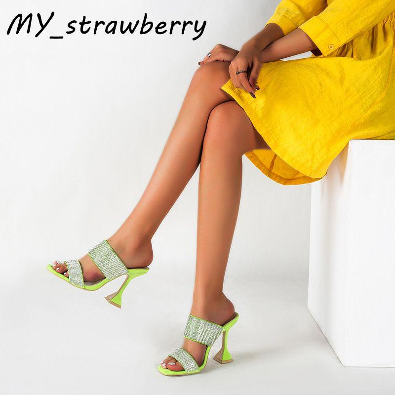 Sandales Femmes New Mode haut talon 2020 été ouvert strass Toe Shoes Sexy Set Sandales Pied Taille Plus 42 Hauteur du talon 11cm