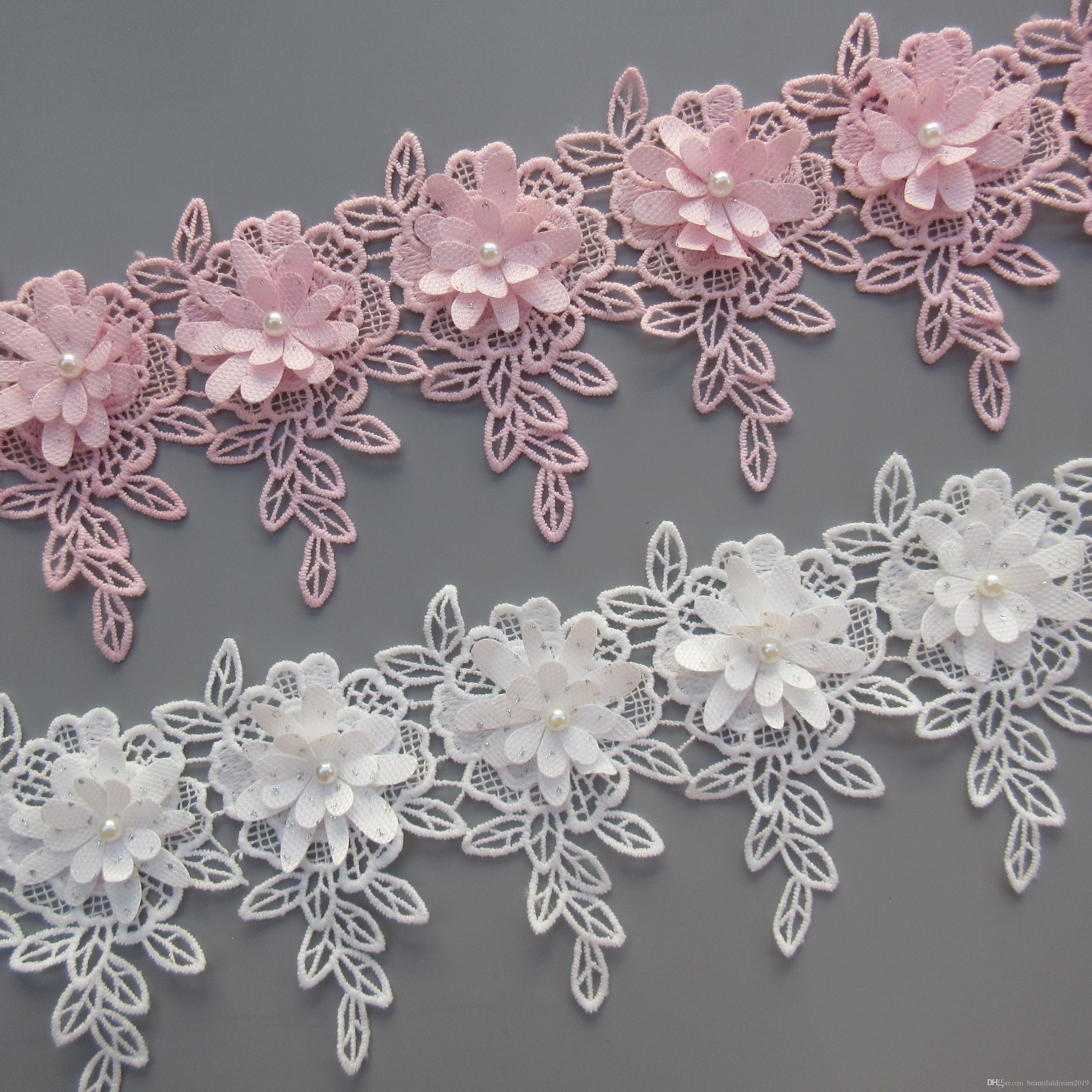 1 yard Flower Diamond Pearl Leaves Milk Fiber Lace Edge Trim Ribbon Sewing Craft