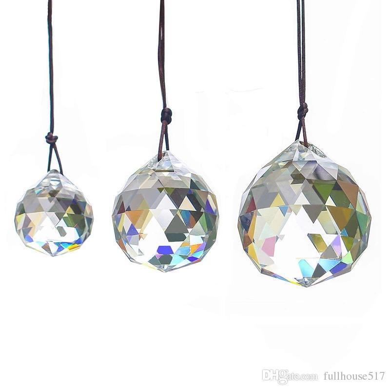 30 milímetros Crystal Ball Prismas pingente de cristal facetado prismas de vidro Teto lâmpada Iluminação de suspensão Chandelier gota Beads Decoração do casamento