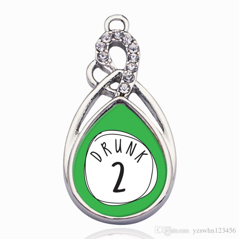 Drunk Two Circle Charms colgantes colgantes de aleación de ajuste para las mujeres pulsera collar accesorios de la joyería que hace