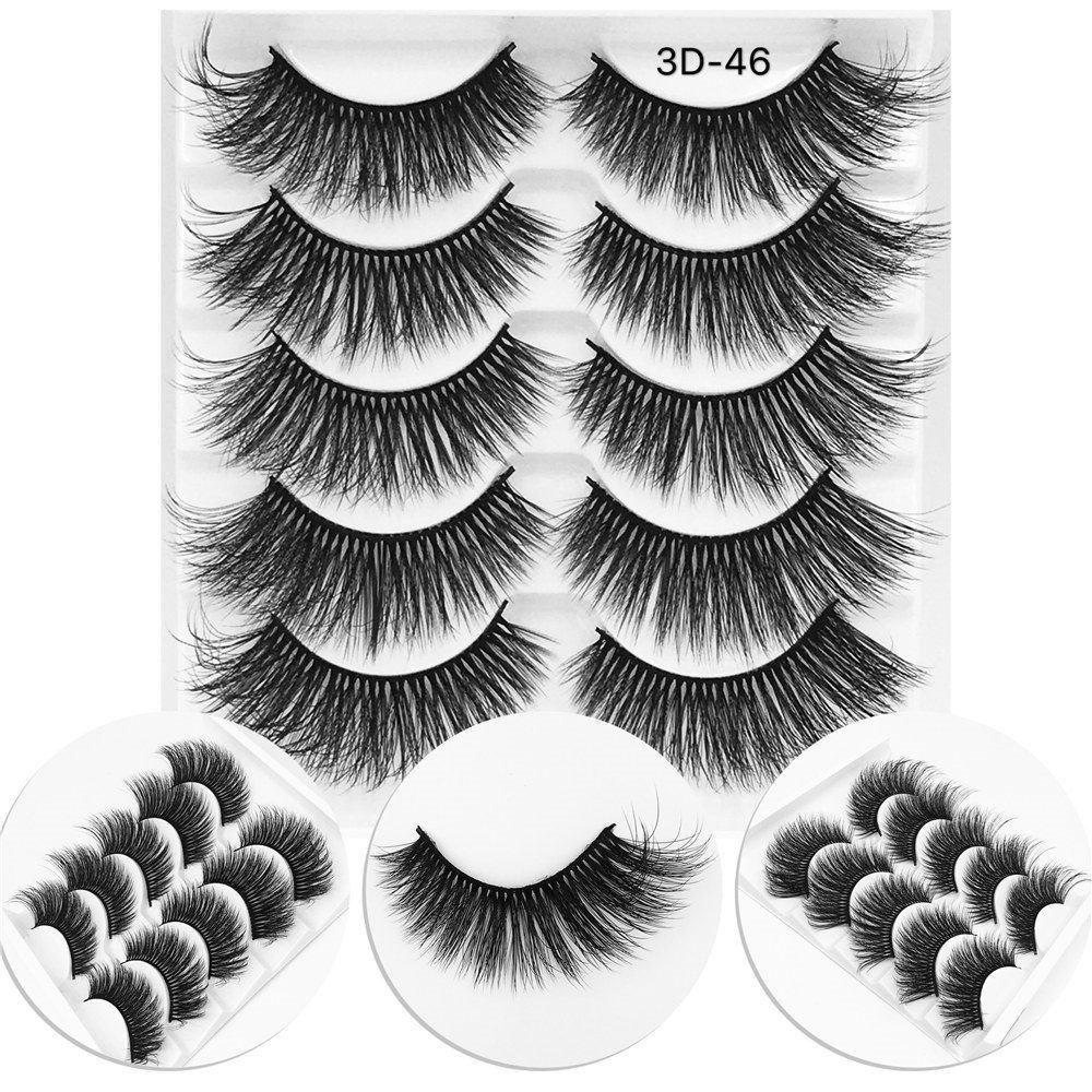 무료 업! 5 쌍 Eyelashs 자연 긴 3D 가짜 밍크 속눈썹 두꺼운 수제 전체 스트립 속눈썹 볼륨 소프트 밍크 속눈썹 거짓 Eyelashe