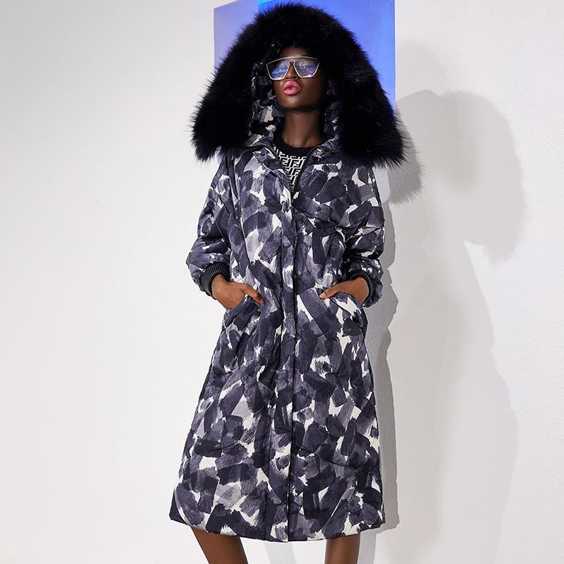 Padrão geométrico silhueta grossa grande gola de pele para baixo casaco feminino longo para baixo mulher jaqueta com capuz óculos