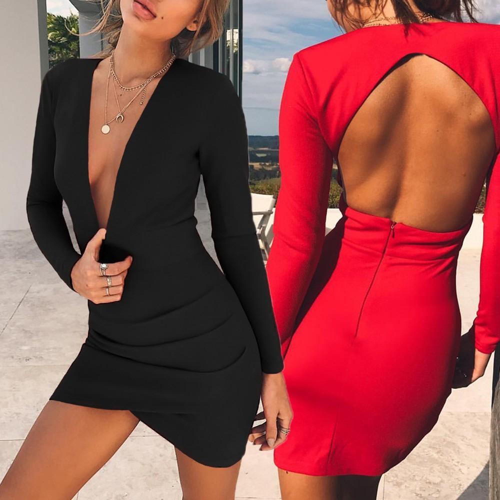 Seksi Kadın Casual Katı Uzun Kollu Kısa Parti Elbise vestido de jurken zomer 2020 İnce Elbise