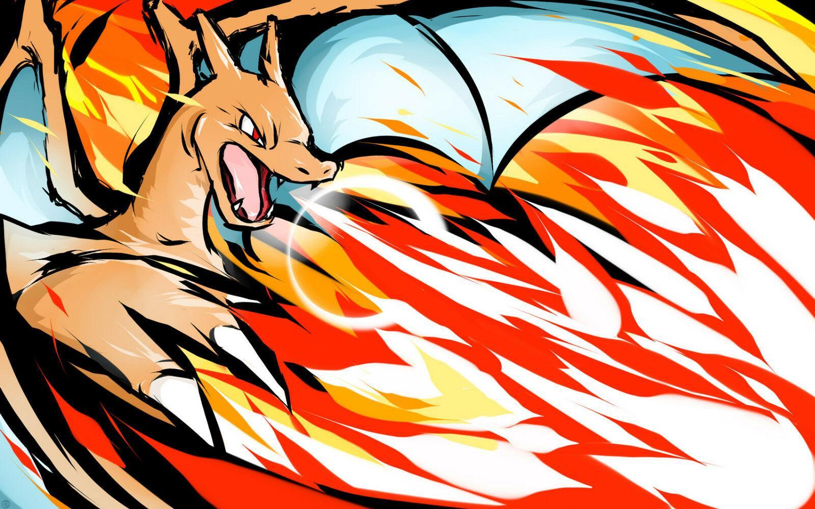 Charizard drago gigante Pittura decorazione domestica dipinta a mano HD olio Stampa pittura su tela di canapa di arte della parete della tela di canapa Immagini 200204