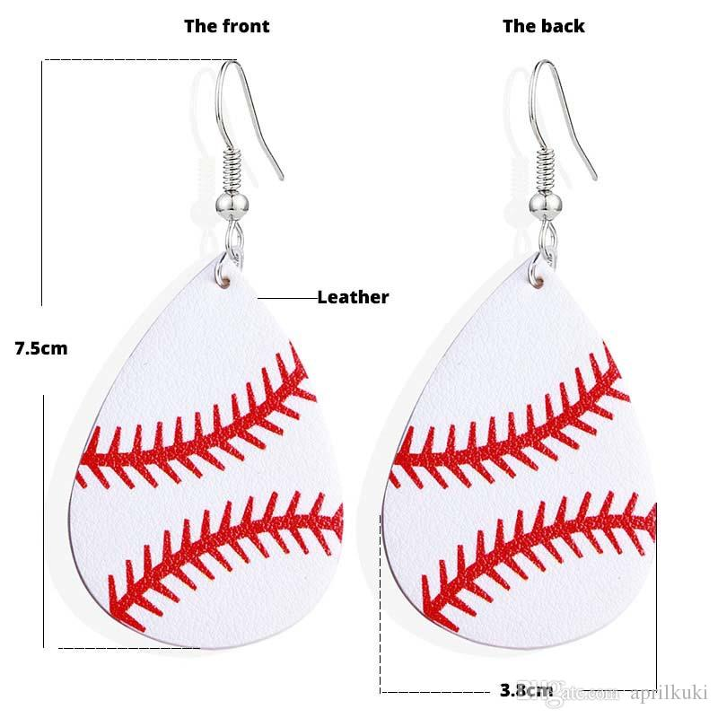 PU Leather Football Baseball Basketball Earring Drop Dangle Ear Studs Jewelry