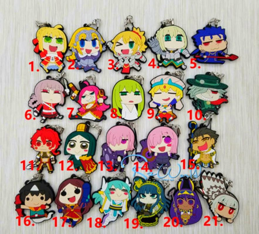 Anime fate grand order rubber Keychain Key Ring Straps Rare