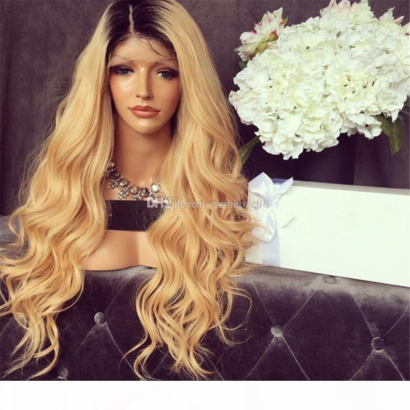 Bal Sarışın İnsan Saç Tam Dantel Peruk Brezilyalı Virgin Saç # 1bT27 Sarışın Ombre Ön Dantel Peruk Vücut Dalga Peruk İçin Siyah Kadınlar