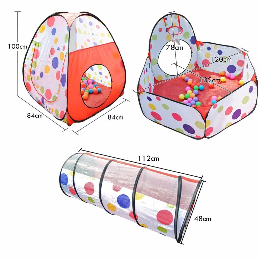 어린이위한 3PCS / 설정 아기 장난감 텐트 Tipi 수영장 실내 야외 놀이터 피트 아기 텐트 하우스 크롤링 터널 풀 오션 볼 텐트