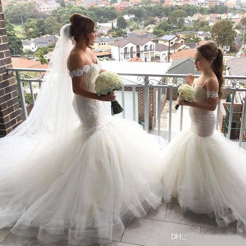 Encantadora sirena tul niña de flores vestidos correa de espagueti botón de encaje espalda niños vestidos de concurso Robe fille fleur