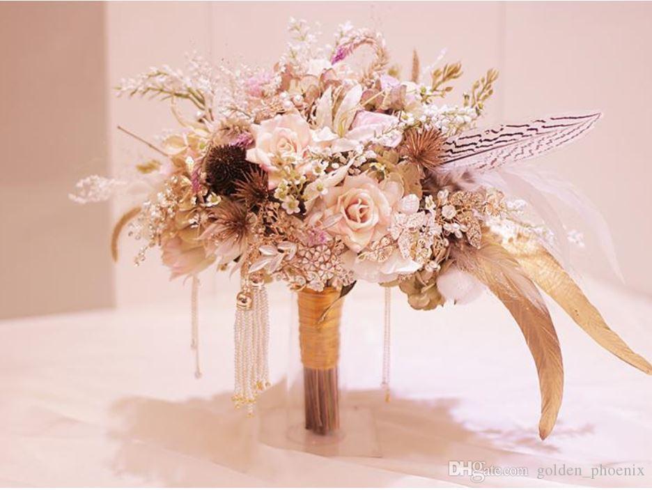 Custom Pink Gold Wedding Bouquet Feather Dried Flower Rose Luxury ...