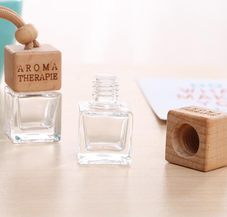 DHL 8ml Square Shape Glass Car Perfume Empty Bottles Pendant 8ml Perfume Empty Hanging Car Diffuser Bottles nt