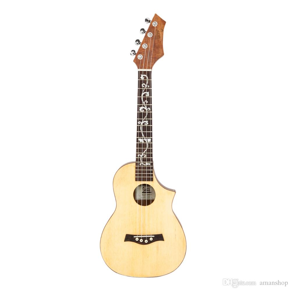 "UK603 26"" Tenor Unfilled Corner Spruce Front-panel with Acacia Back and Side Panel 17 Frets Ukulele Wood Color"