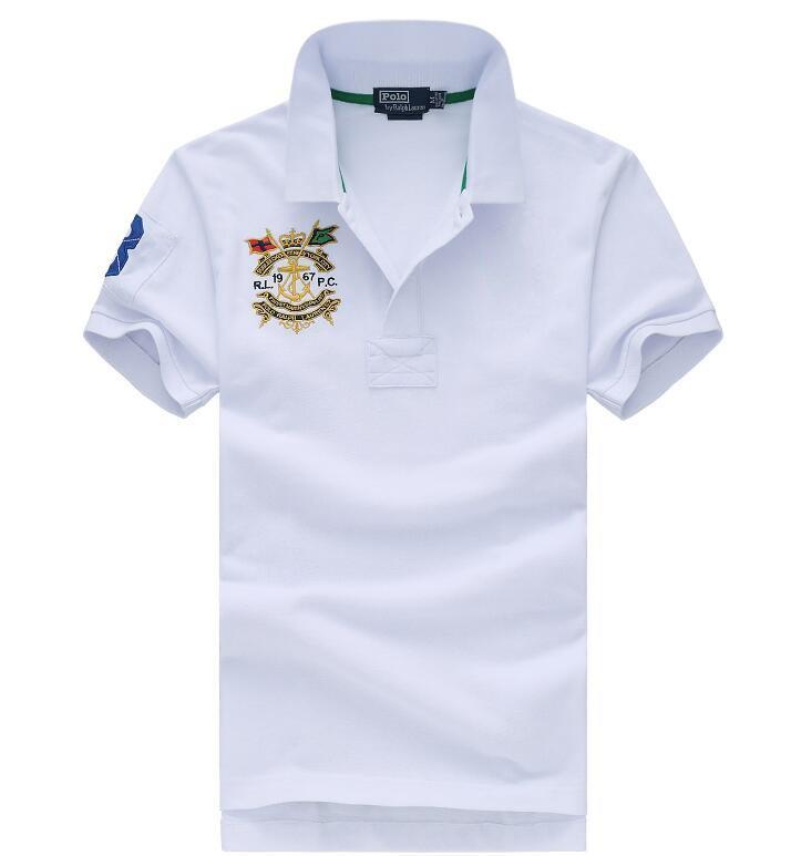 dos homens Marca T-shirt Polo de shirt clássico bordado solto lapela homens Big Polo de alta qualidade New T-shirt Casual Polo