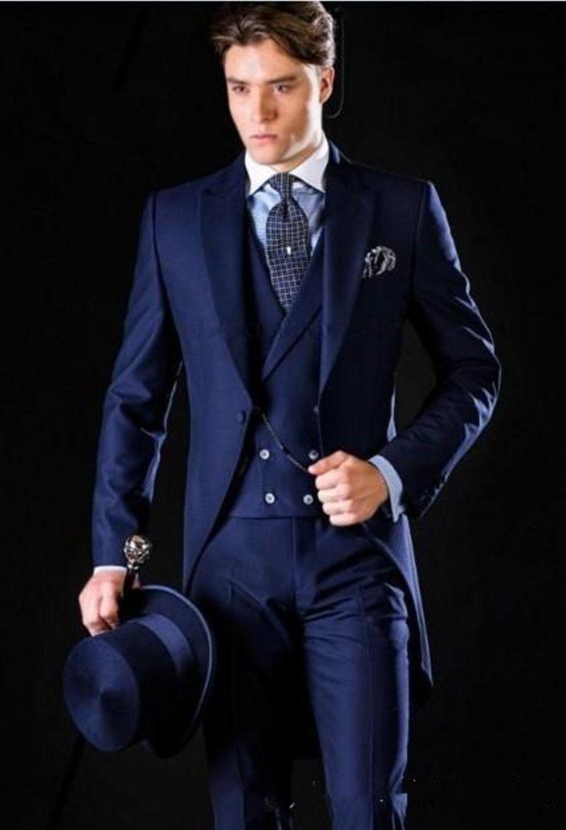 Nuovo di alta qualità One Button blu smoking dello sposo picco risvolto Groomsmen Best Man adatta uomo abiti da sposa (giacca + pantaloni + vest + cravatta) 694