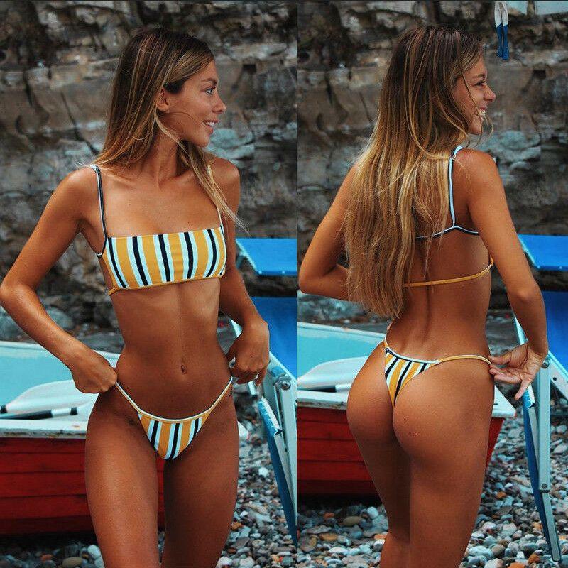 Sexy rayé Femmes Bikini Summer Set 2 Pièces Natation dames Maillot de bain push-up rembourré Maillots de bain Maillot de bain Femme Beachwear
