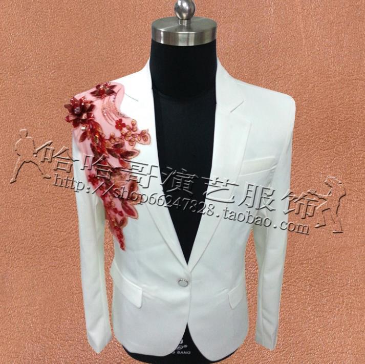 Branco Bordado Jackets Men Suits Trajes Cenografia para Singers Homens Lantejoulas Blazer dança roupas estrela estilo vestido Punk