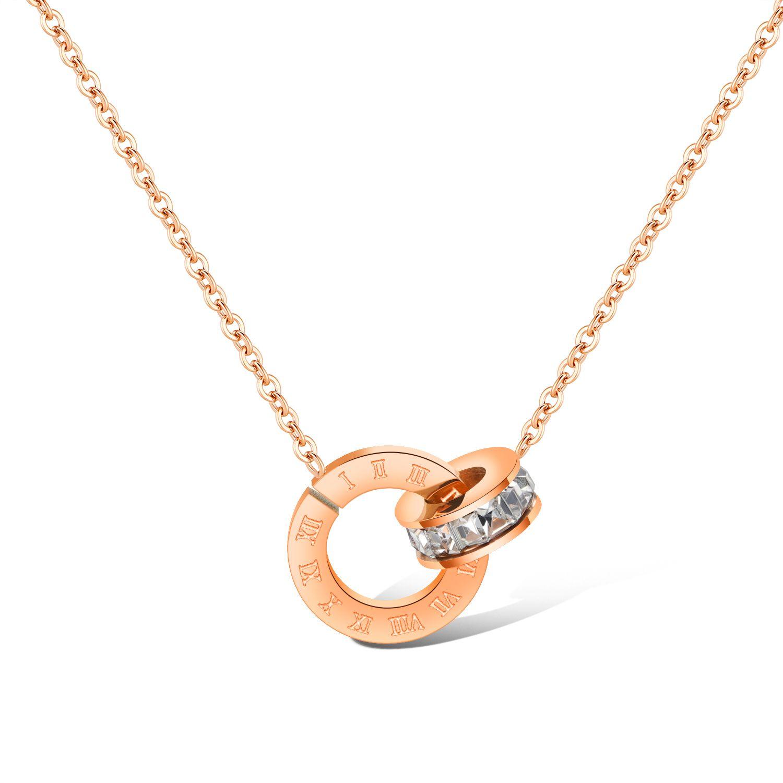 2020 z1396new Mode Roman digitalen Diamant Anhänger plattierten Rotgold Dame Titan Stahl Verriegelungsknochenkette Doppelringschnalle