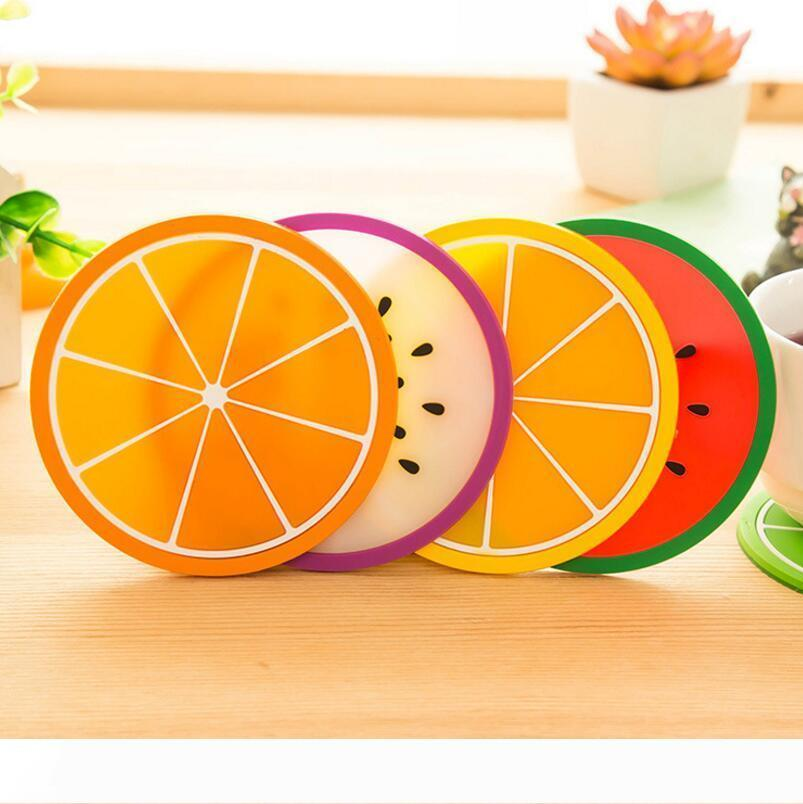 New Table Accessories Kitchen Gadgets Candy Color Fruit Shape Silicone Cup Mat Coaster Non-slip Insulation Pad LX3605