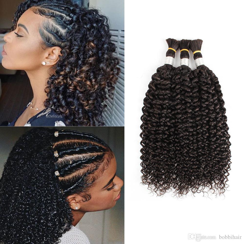 Brasileño de pelo rizado Brasil para trenzar Jerry Curl No hay trama 3 paquetes Deal Indian Human Hair Extension