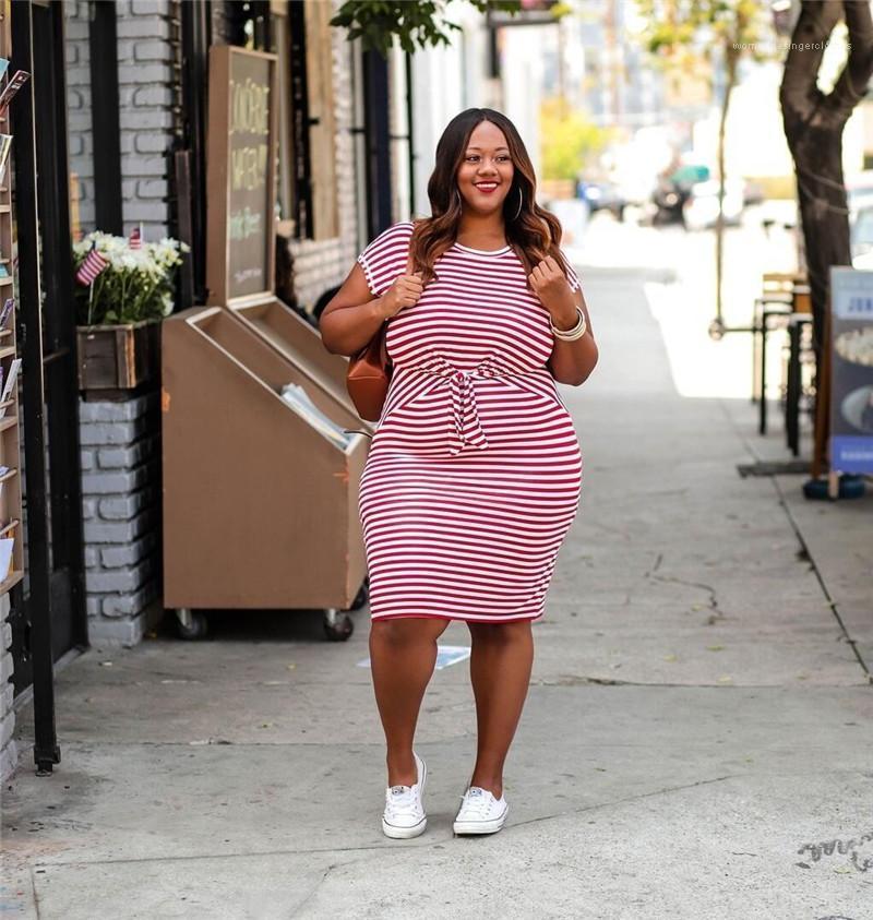 Kurzarm Crew Neck Bleistiftkleider Frauen Mode Lässige Kleider Frauen Plus Größenkleider Gestreifter Druck
