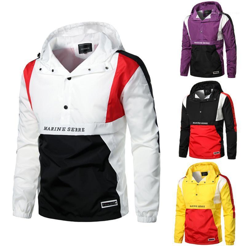 Loose vêtements pour hommes de couleur contrastée Designer Hommes Vestes Printemps capuche manches longues Mode Hommes Windrunner Casual