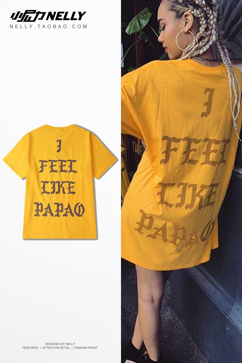 Retro hip hop men's high street dark art printing tide card short-sleeved TEE yellow round collar men's and women's