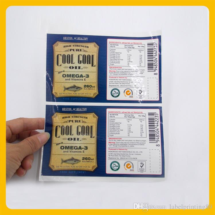 Customized food synthetiic sticker for bottle package strong adhesive waterproof label sticker with logo