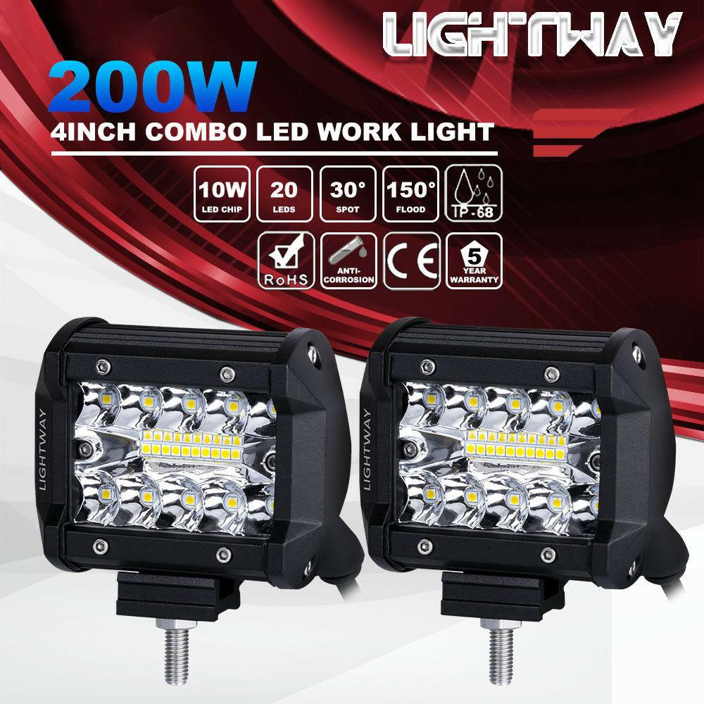 2 unids 4 pulgadas 200 W CREE LED barra de luz de trabajo Pods Flush Mount Combo lámpara de conducción 12V 6000K 20000LM para conducir Offroad barco coche